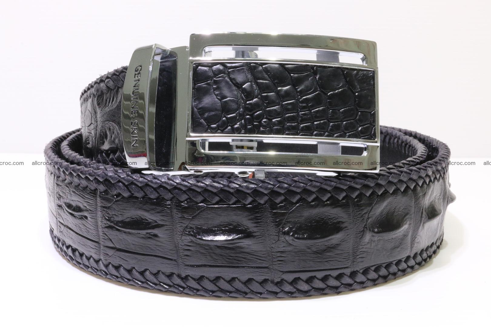 Handmade braided hornback genuine crocodile belt 012 Foto 0