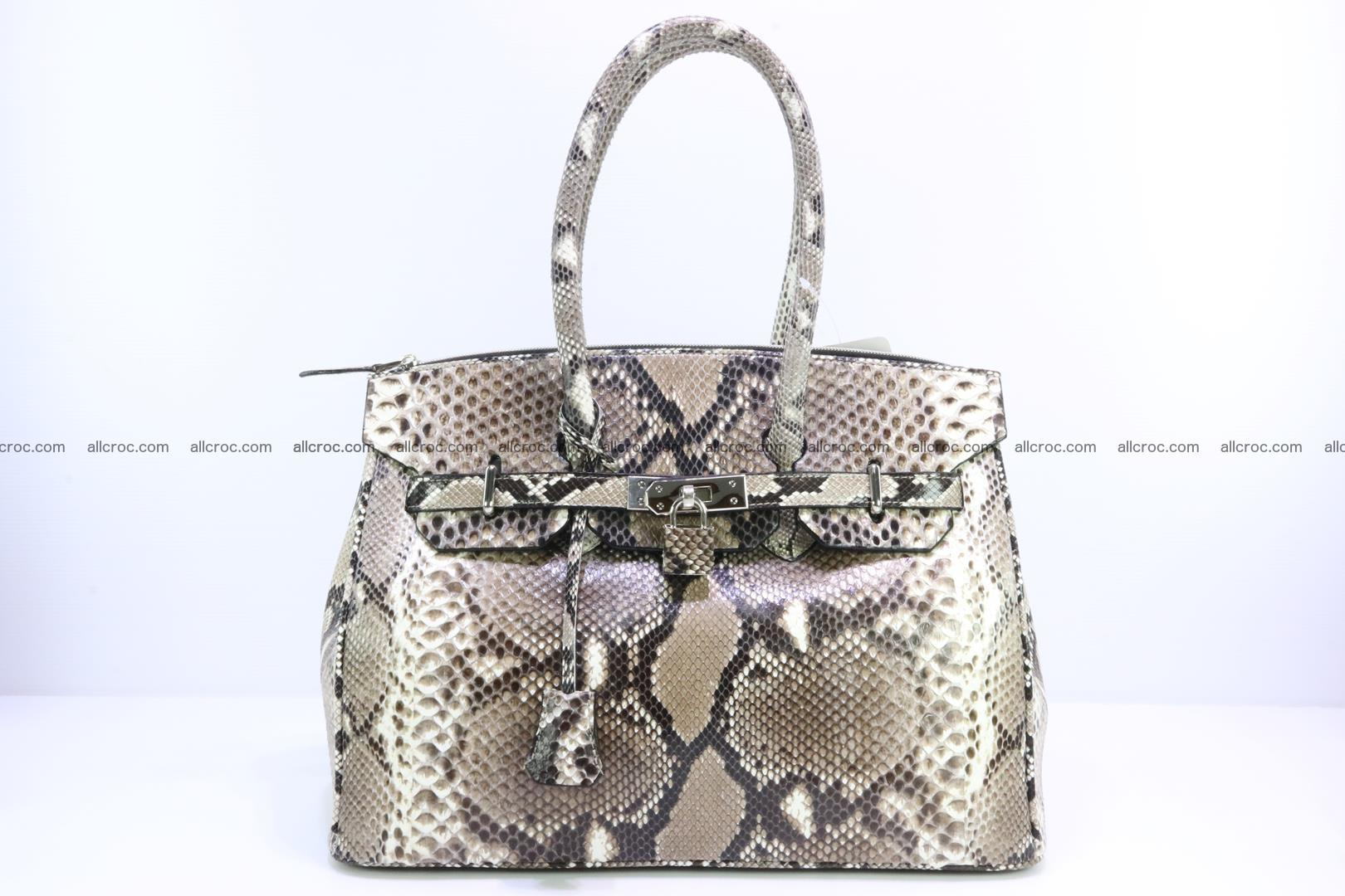Python skin women's handbag replica of Birkin 200 Foto 0