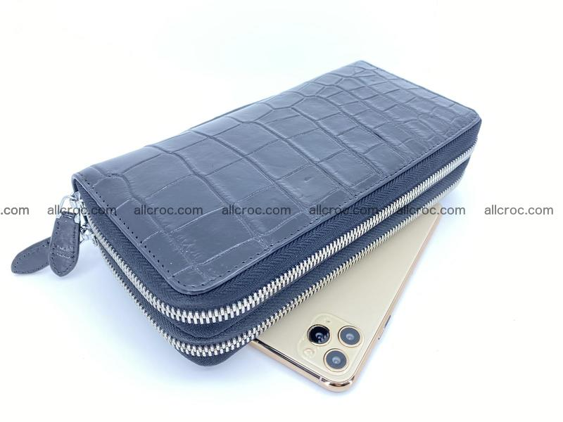 Crocodile skin long wallet 2-zips 675