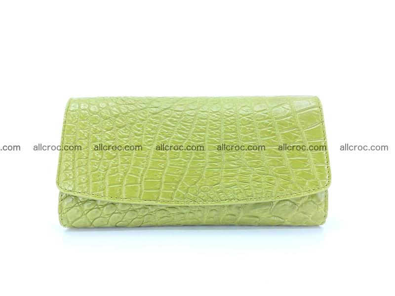 Crocodile leather long wallet trifold 616