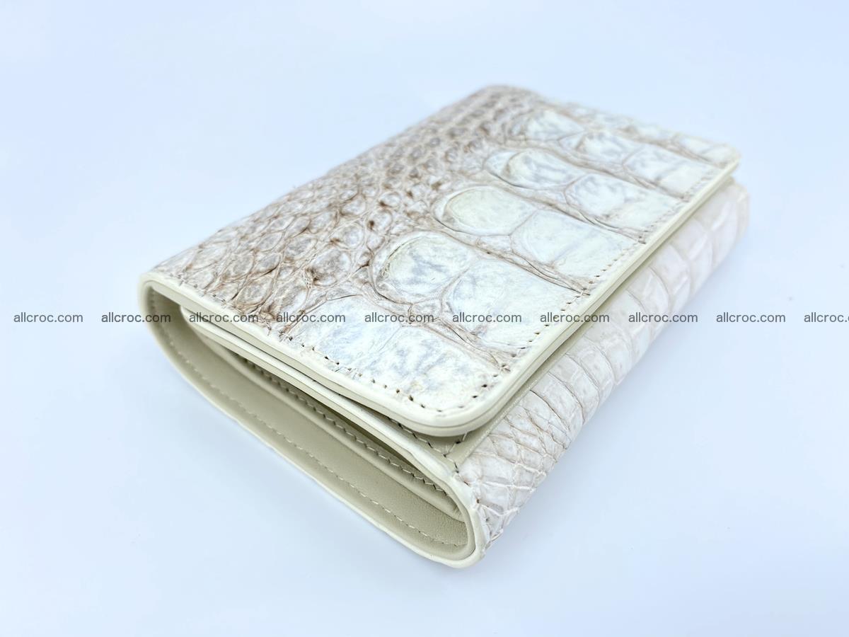 Siamese crocodile skin wallet for lady, trifold medium size 426 Foto 4