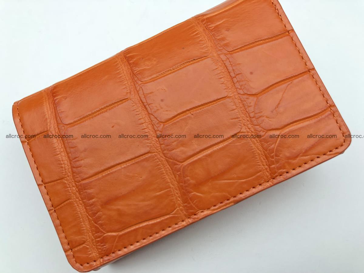 Siamese crocodile skin wallet for women belly part, trifold medium size 436 Foto 4