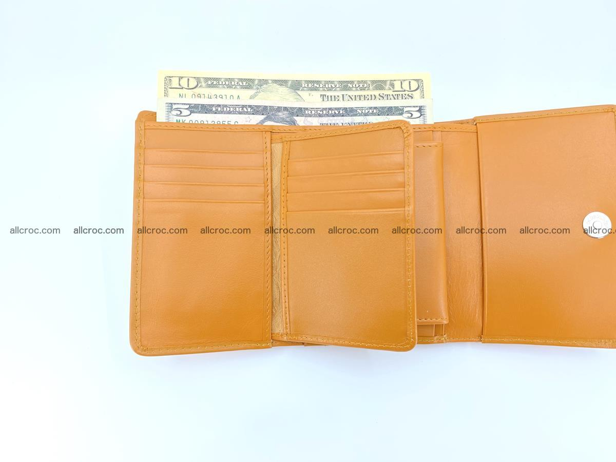Siamese crocodile skin wallet for women belly part, trifold medium size 442 Foto 9