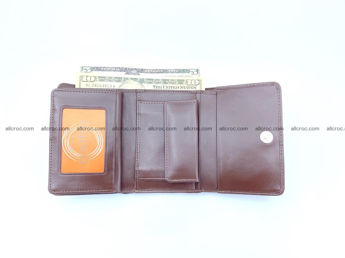 Siamese crocodile skin wallet for women belly part, trifold medium size 446 Foto 9