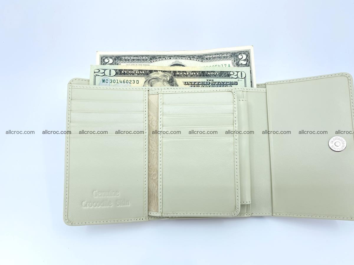 Siamese crocodile skin wallet for women belly part, trifold medium size 441 Foto 11