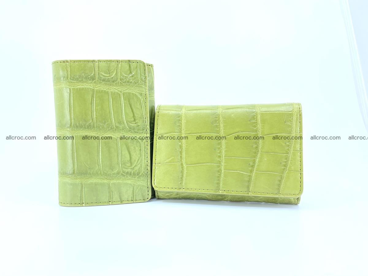 Siamese crocodile skin wallet for women belly part, trifold medium size 437 Foto 12
