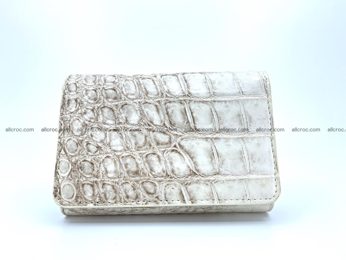 Siamese crocodile skin wallet for women belly part, trifold medium size 441 Foto 0