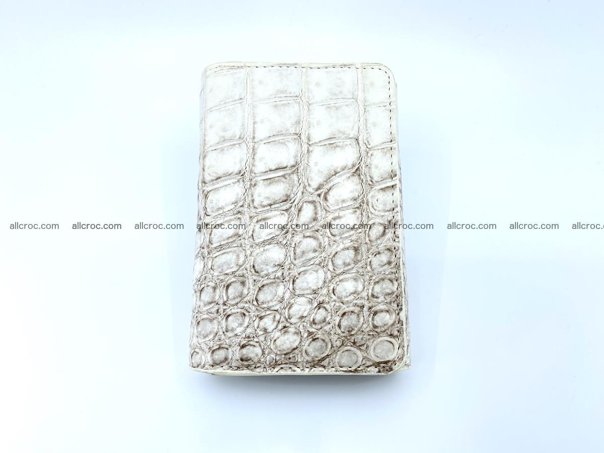 Siamese crocodile skin wallet for women belly part, trifold medium size 441 Foto 2
