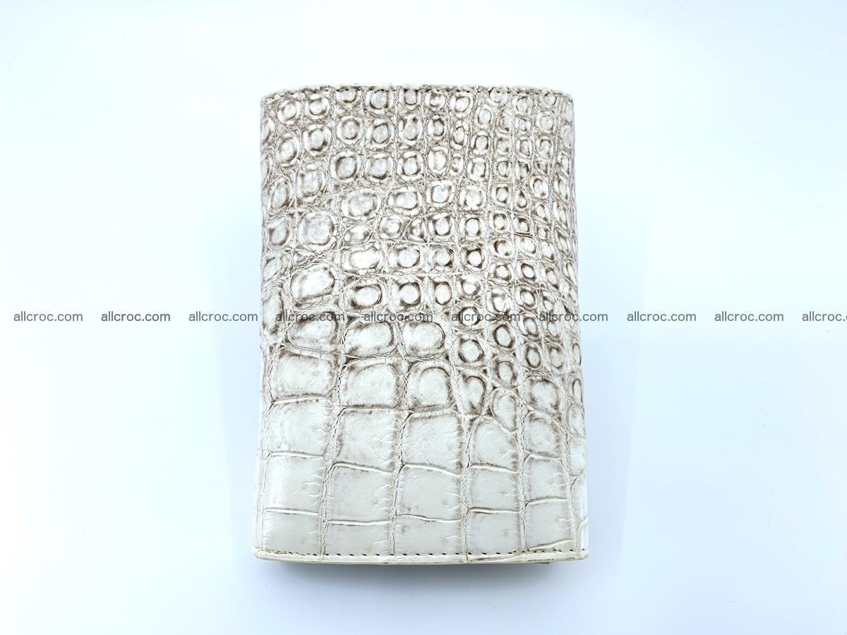 Siamese crocodile skin wallet for women belly part, trifold medium size 441 Foto 3