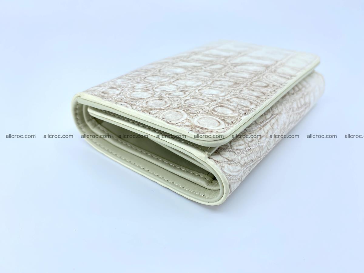 Siamese crocodile skin wallet for women belly part, trifold medium size 441 Foto 4