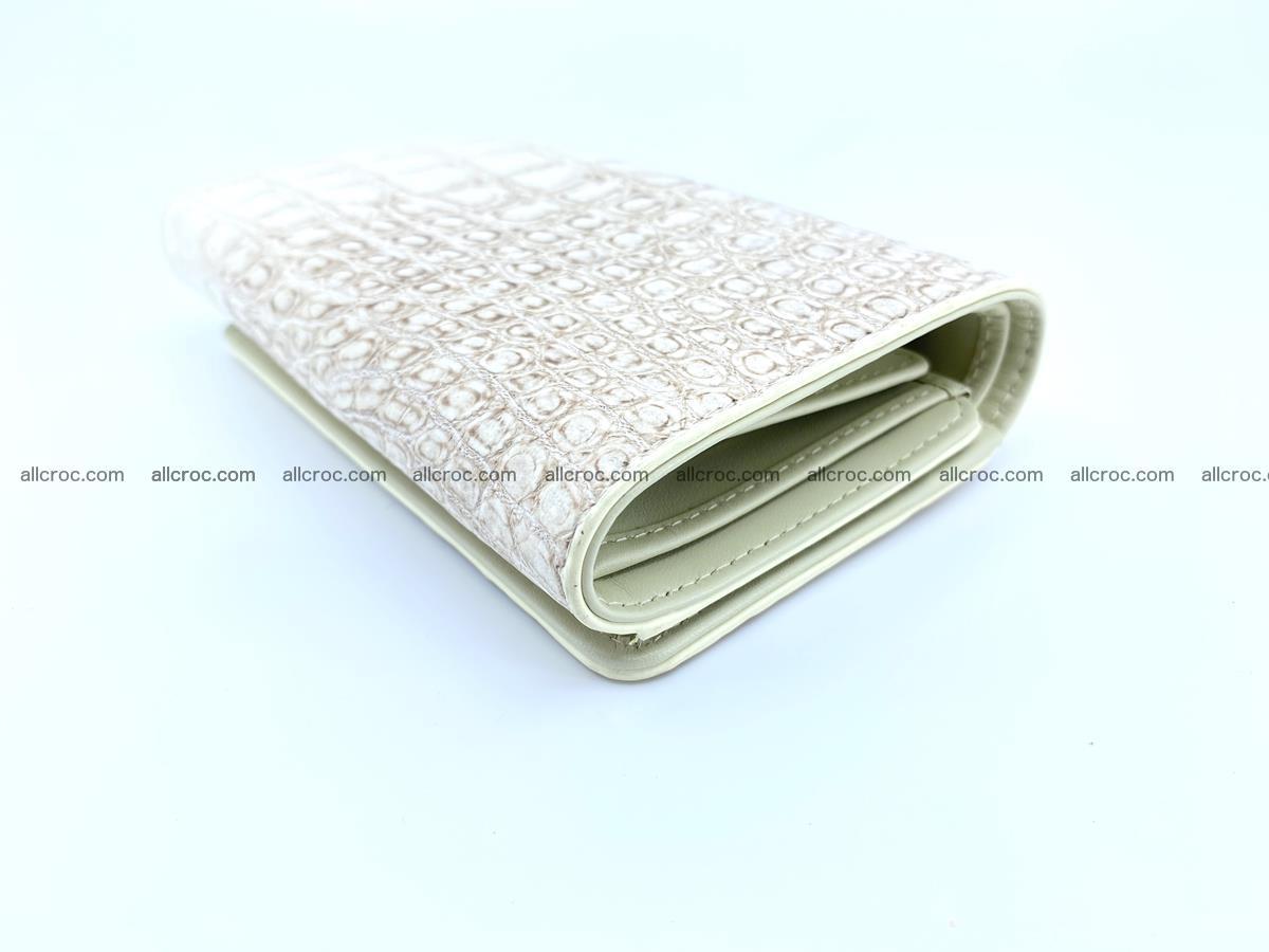 Siamese crocodile skin wallet for women belly part, trifold medium size 441 Foto 5