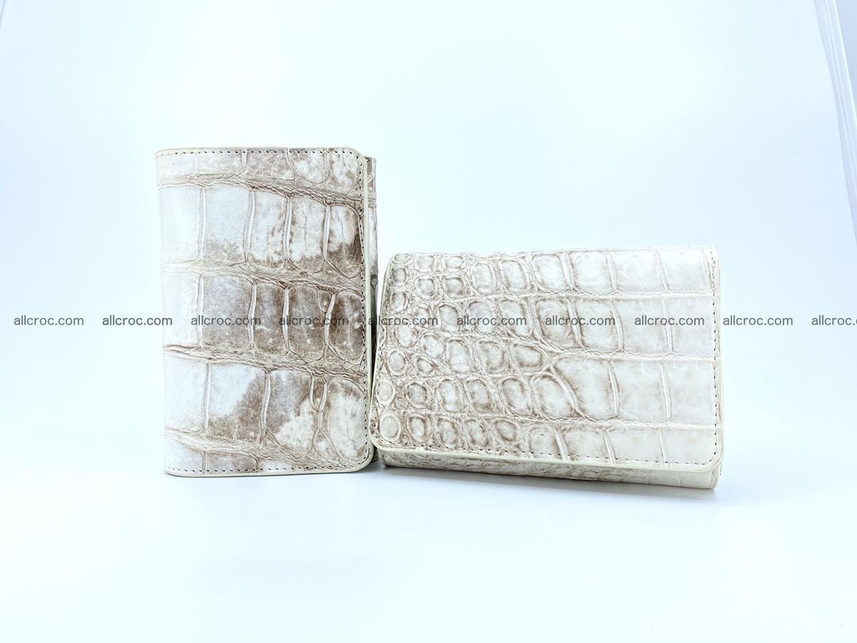 Siamese crocodile skin wallet for women belly part, trifold medium size 441 Foto 13