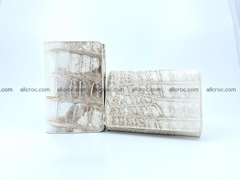 Siamese crocodile skin wallet for women belly part, trifold medium size 441