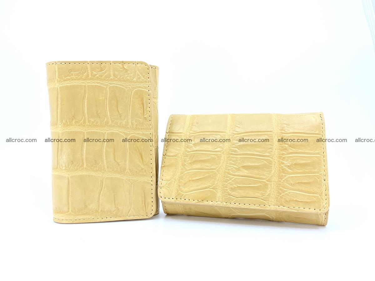 Siamese crocodile skin wallet for women belly part, trifold medium size 439 Foto 12