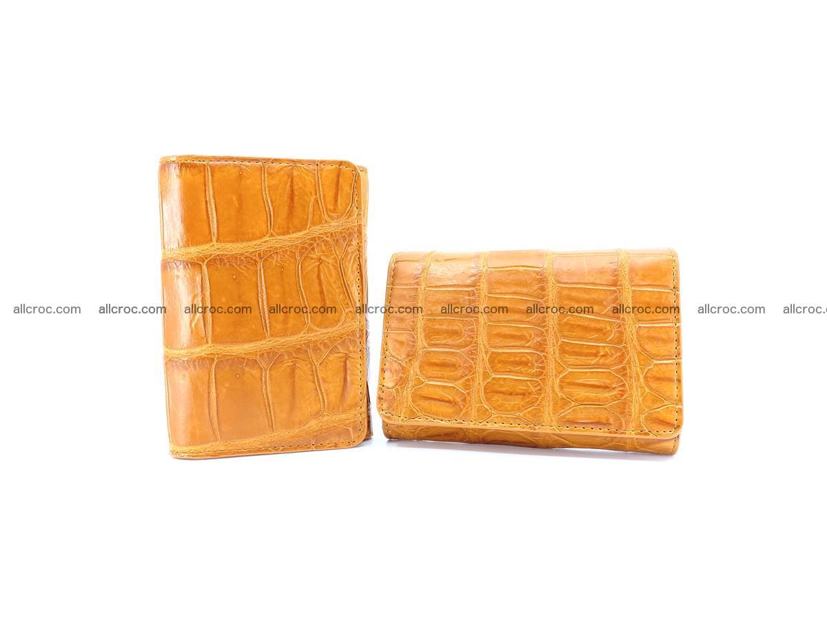Siamese crocodile skin wallet for women belly part, trifold medium size 442 Foto 12