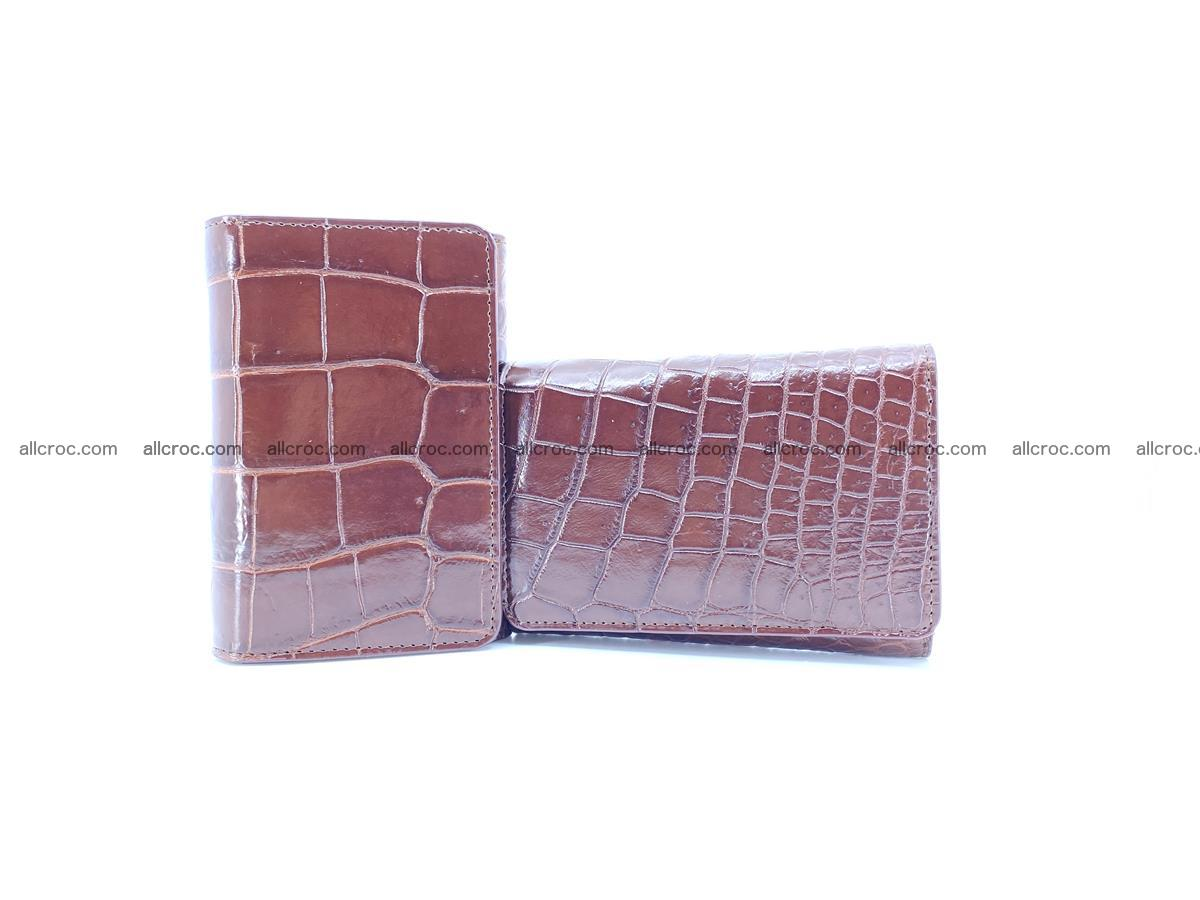 Siamese crocodile skin wallet for women belly part, trifold medium size 446 Foto 11