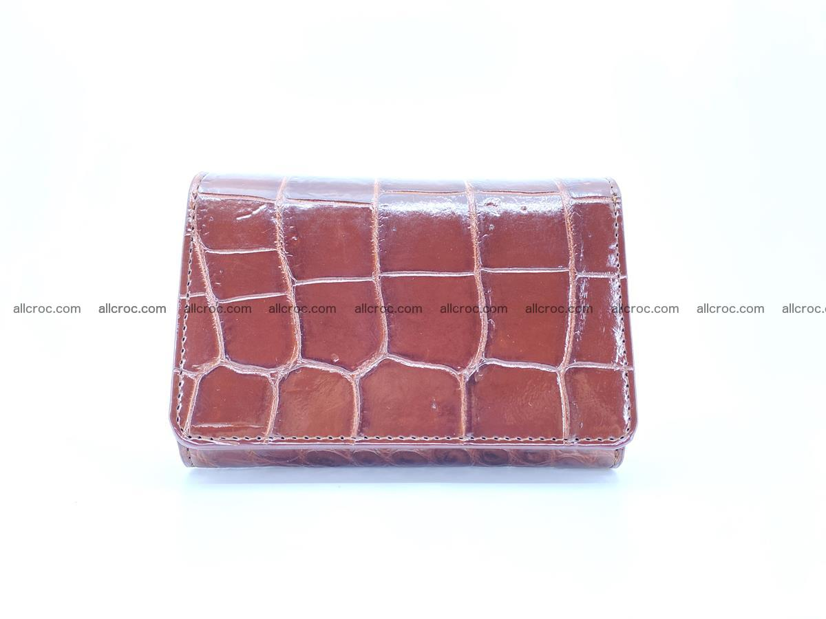 Siamese crocodile skin wallet for women belly part, trifold medium size 443 Foto 0