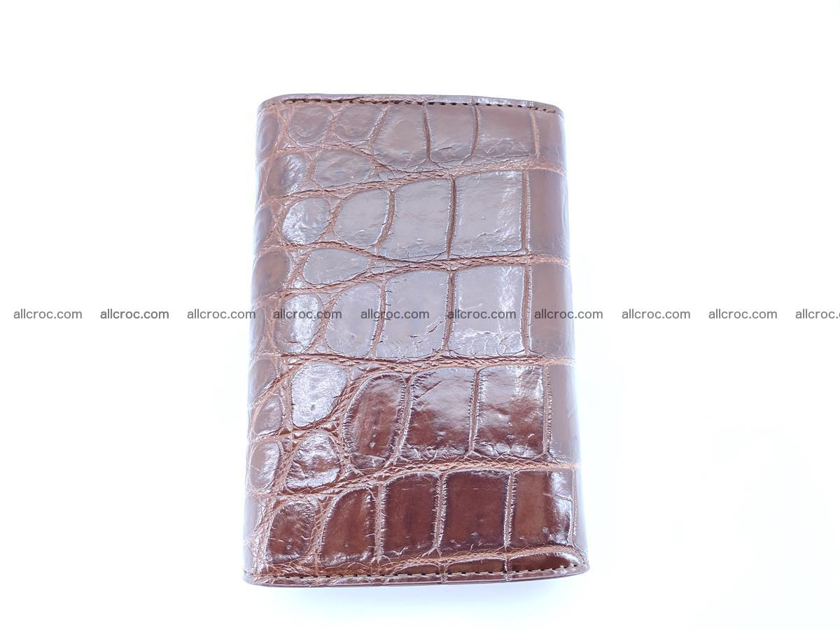 Siamese crocodile skin wallet for women belly part, trifold medium size 443 Foto 3
