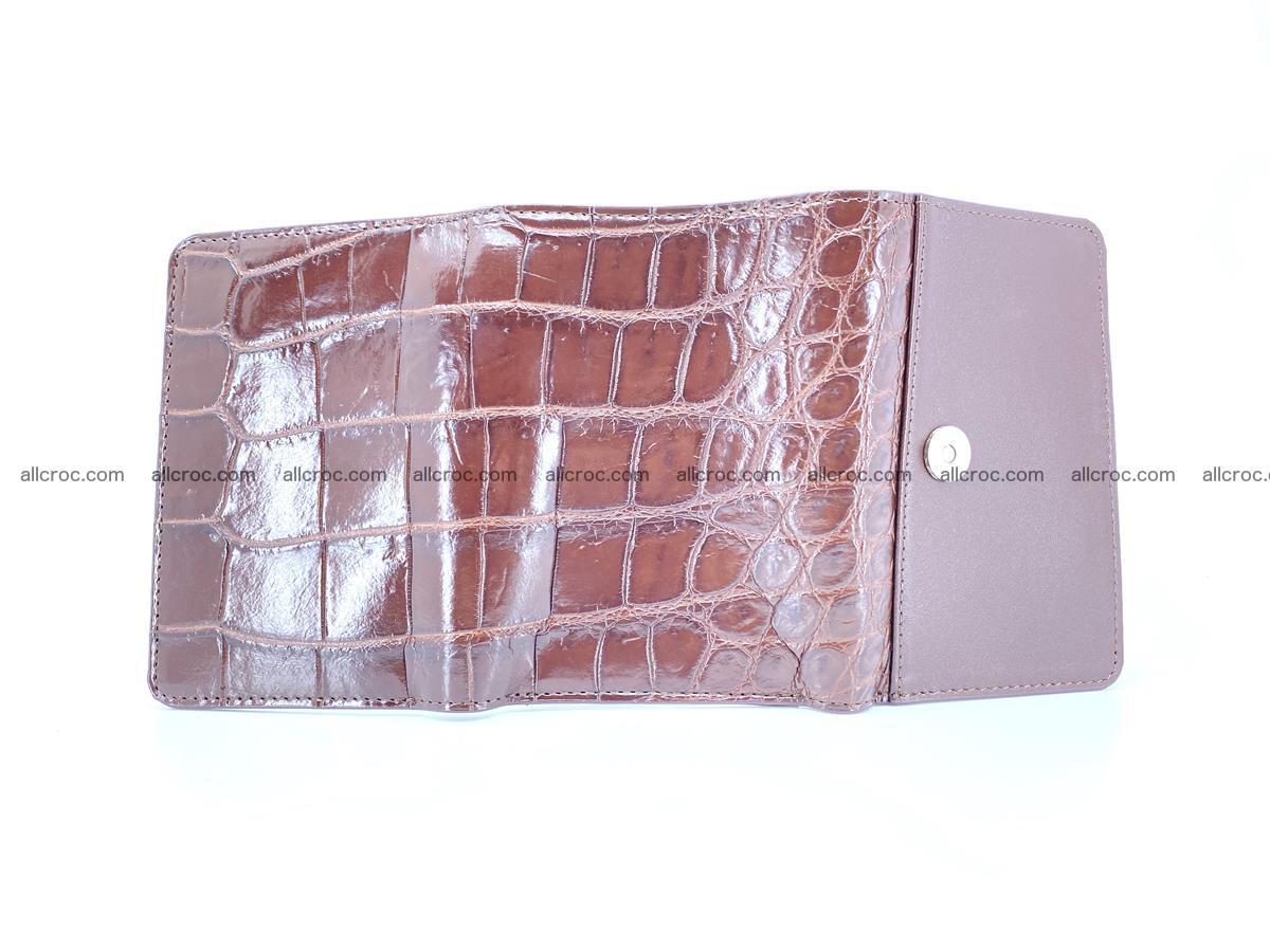 Siamese crocodile skin wallet for women belly part, trifold medium size 443 Foto 6