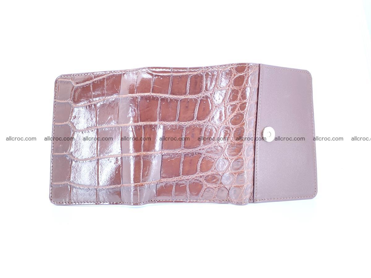 Siamese crocodile skin wallet for women belly part, trifold medium size 443 Foto 7