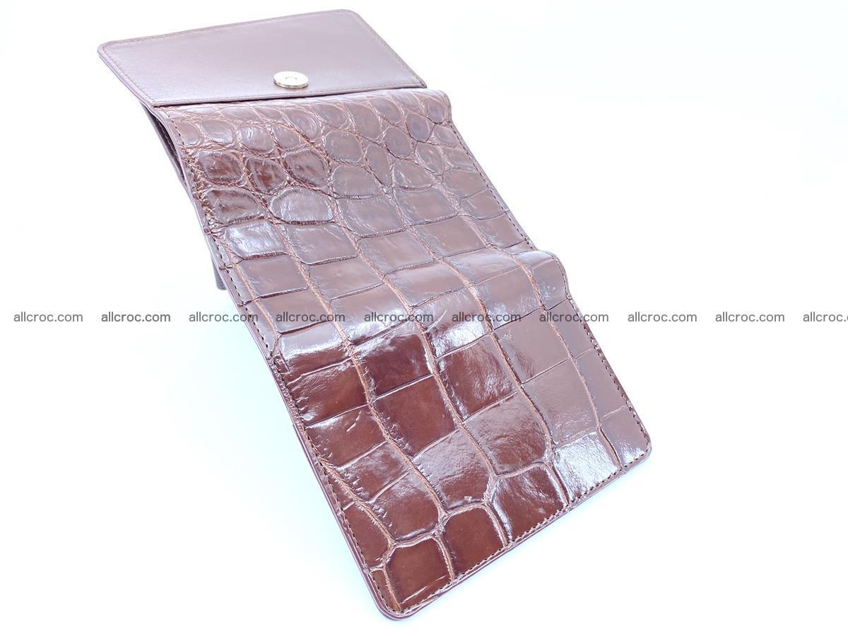 Siamese crocodile skin wallet for women belly part, trifold medium size 443 Foto 8