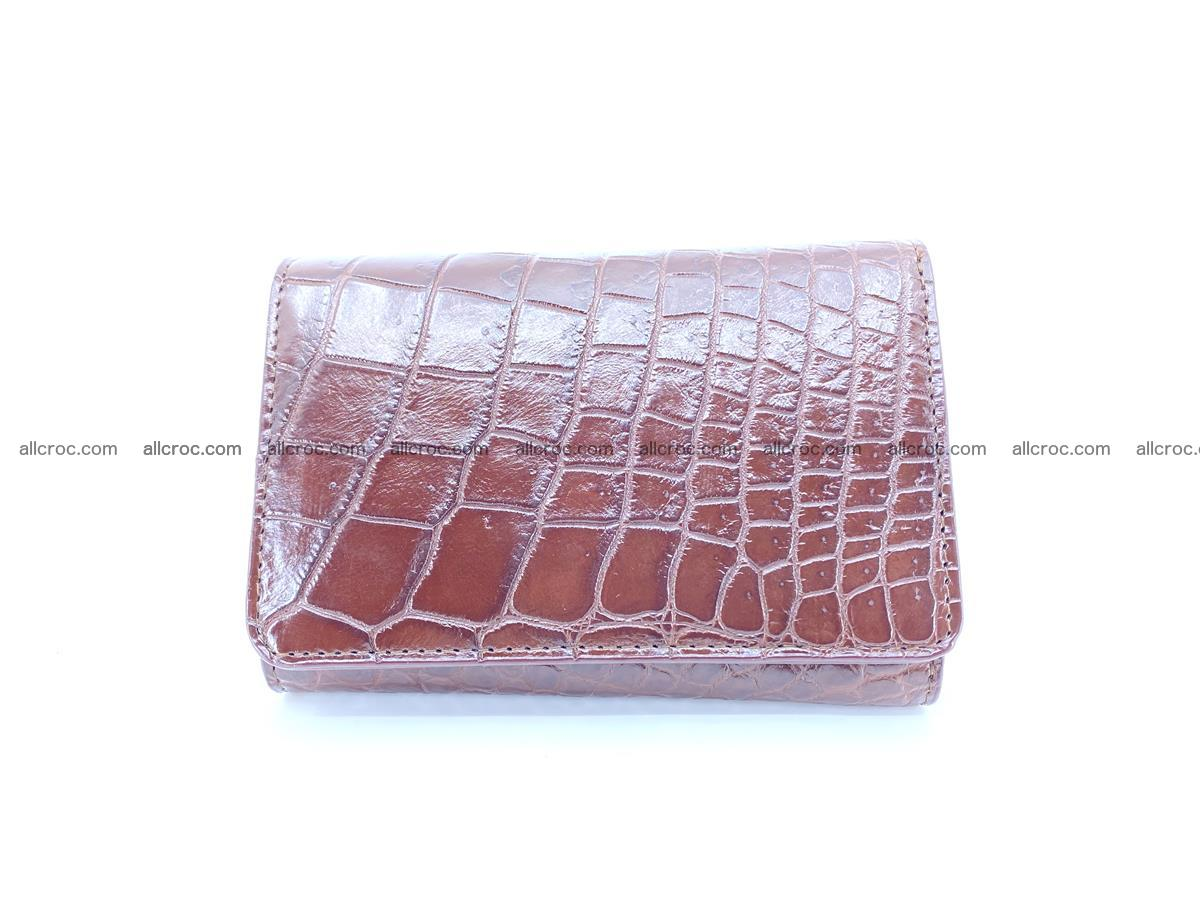 Siamese crocodile skin wallet for women belly part, trifold medium size 446 Foto 0