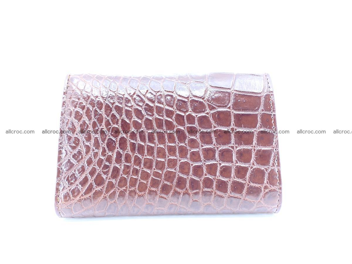 Siamese crocodile skin wallet for women belly part, trifold medium size 446 Foto 1