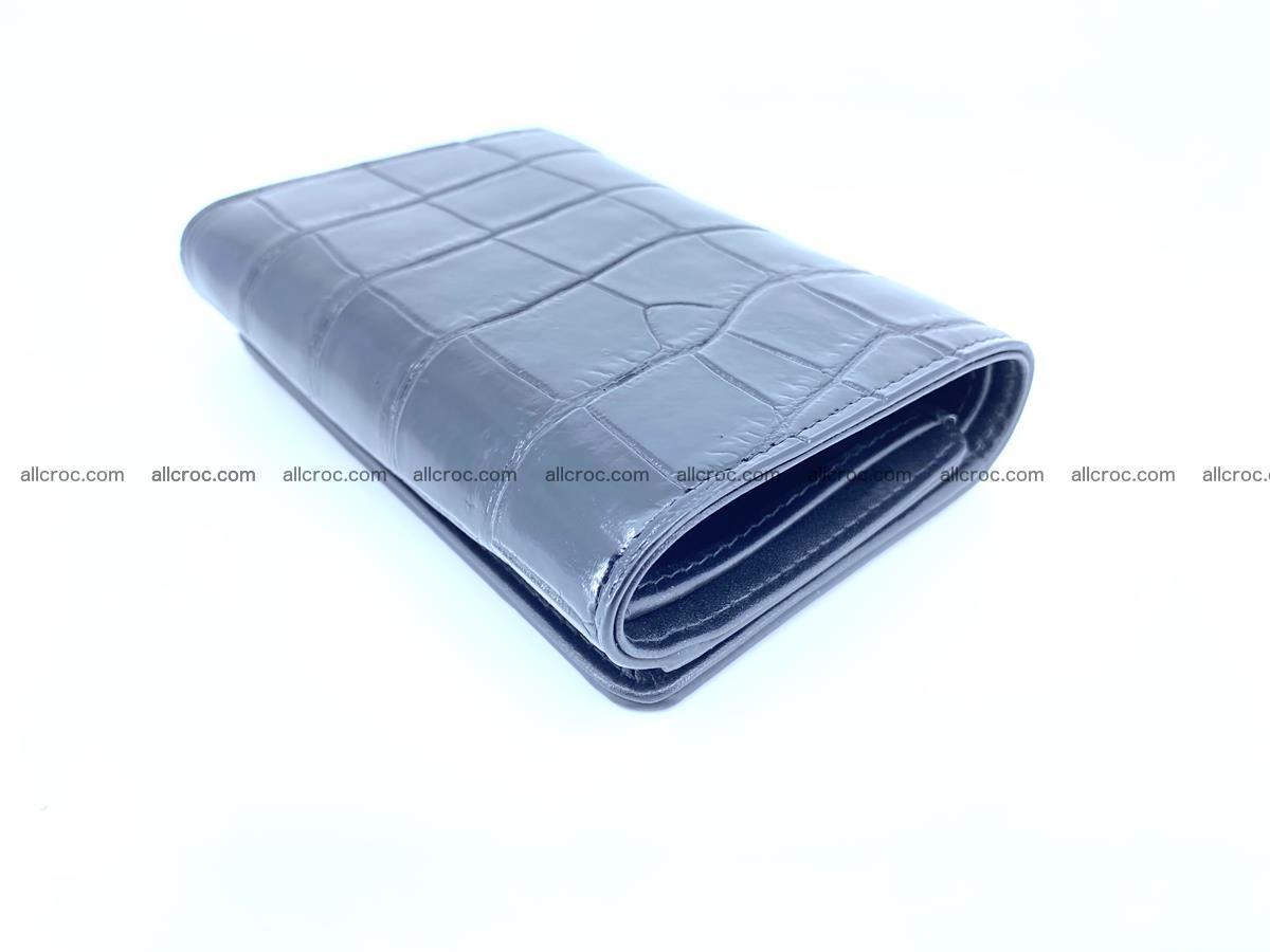 Siamese crocodile skin wallet for women belly part, trifold medium size 445 Foto 5