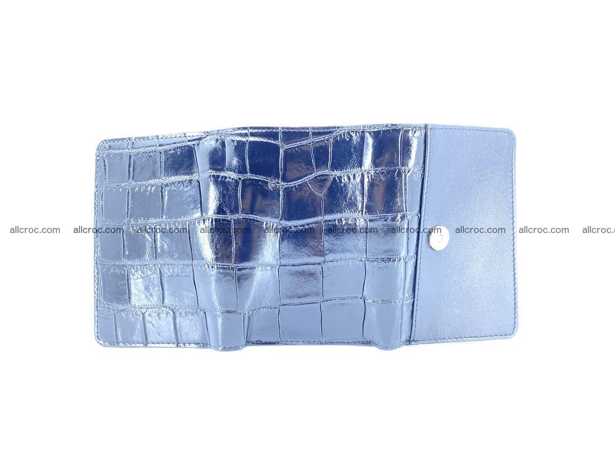 Siamese crocodile skin wallet for women belly part, trifold medium size 445 Foto 6