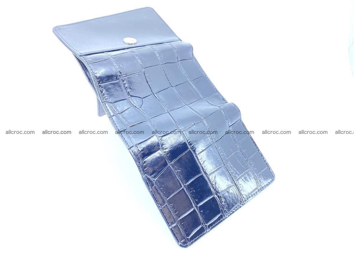 Siamese crocodile skin wallet for women belly part, trifold medium size 445 Foto 7