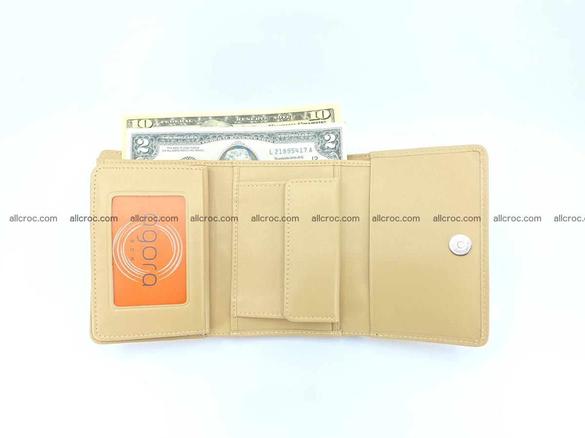 Siamese crocodile skin wallet for women belly part, trifold medium size 439 Foto 7
