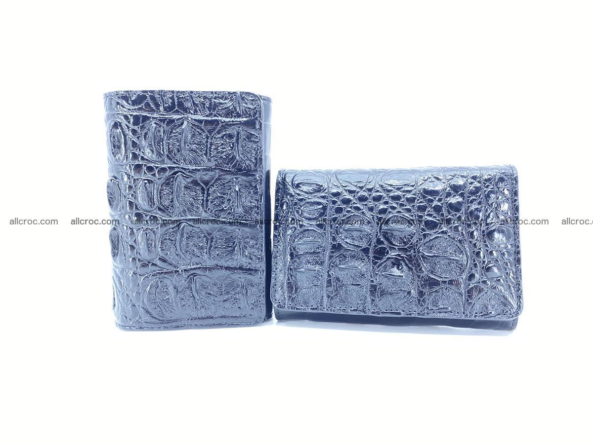 Siamese crocodile skin wallet for women trifold medium size 451 Foto 12