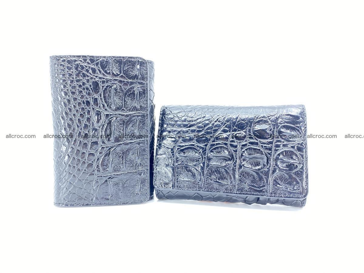 Siamese crocodile skin wallet for women, trifold medium size 429 Foto 11