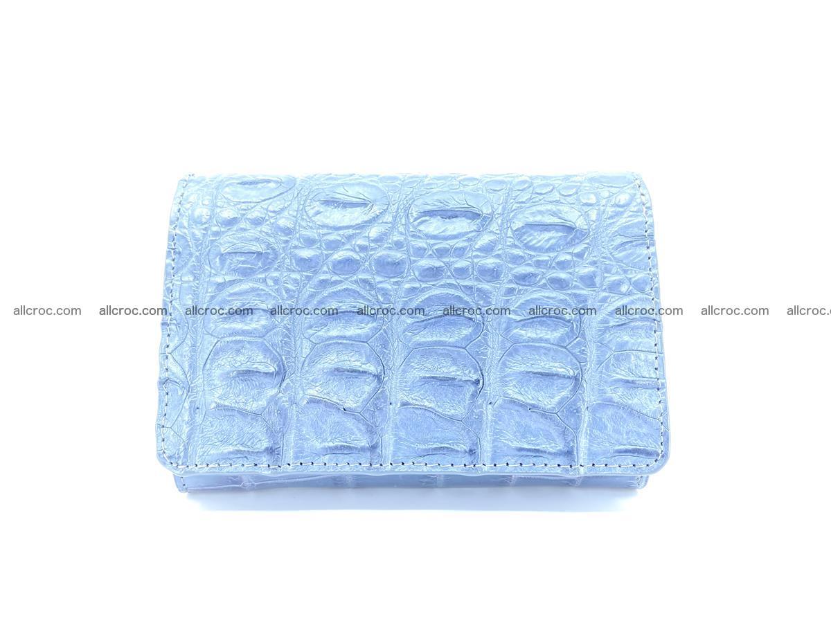 Siamese crocodile skin wallet for women, trifold medium size 431 Foto 0