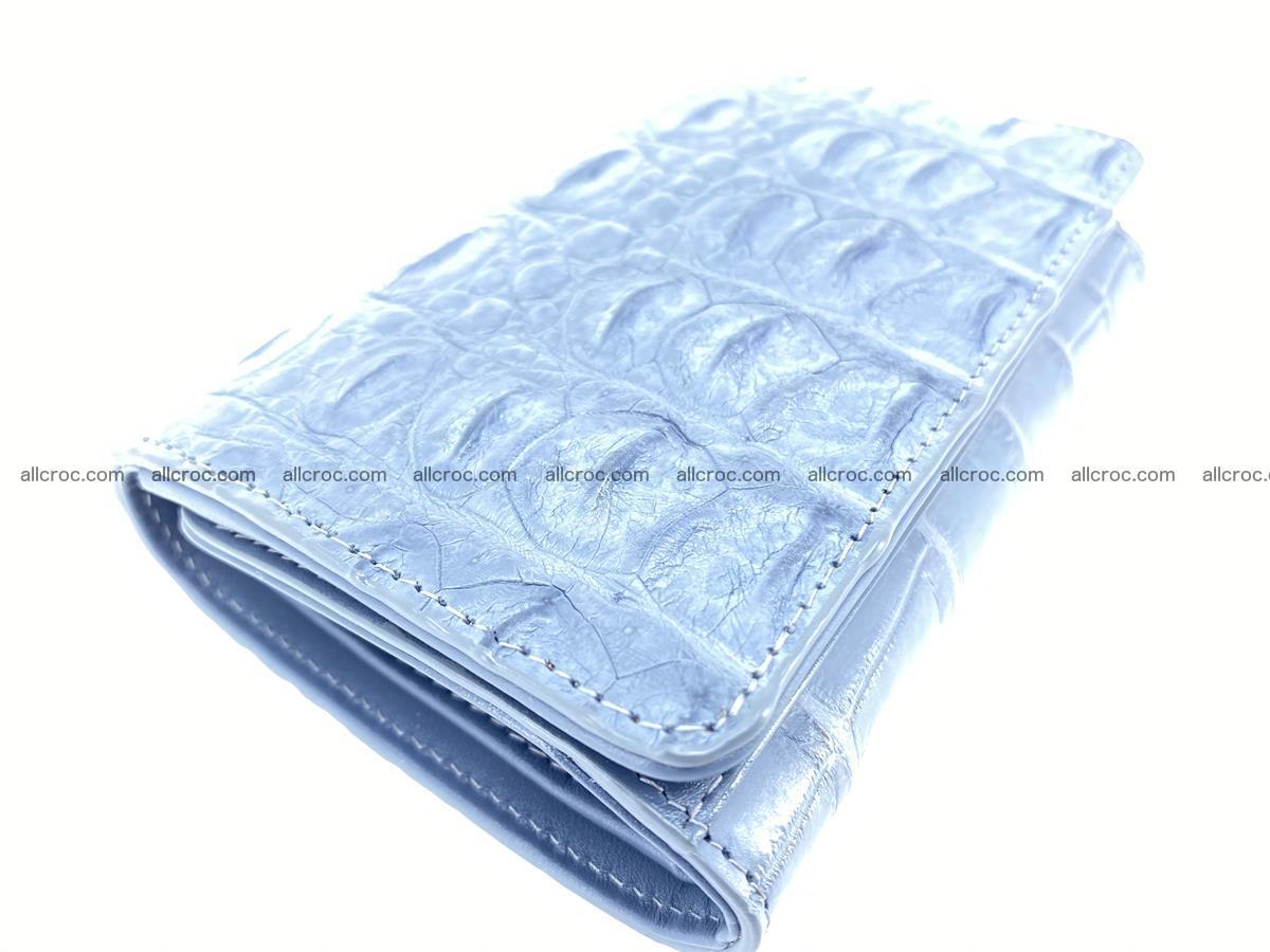 Siamese crocodile skin wallet for women, trifold medium size 431 Foto 4
