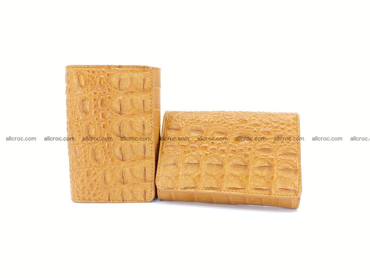 Siamese crocodile skin wallet for women, trifold medium size 432 Foto 13