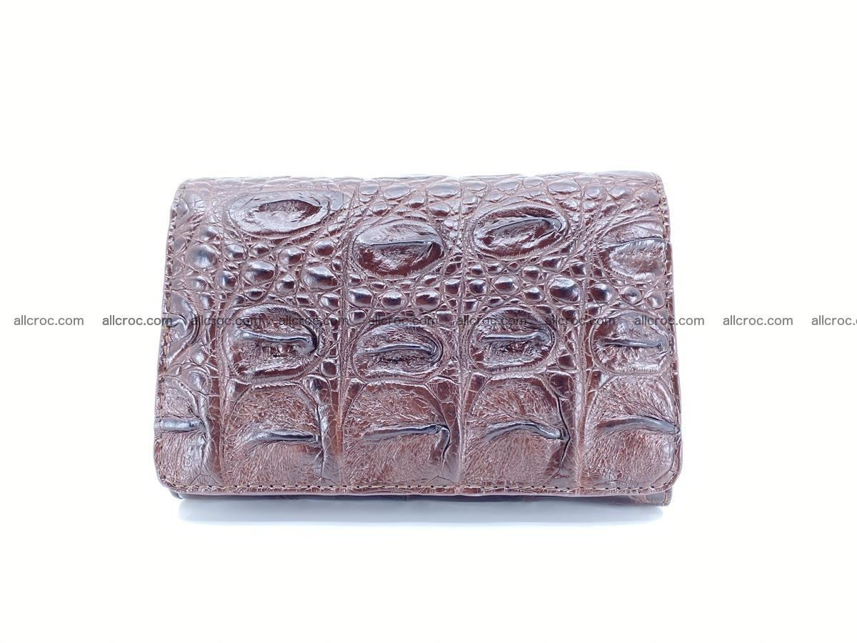 Siamese crocodile skin wallet for women, trifold medium size 433 Foto 0