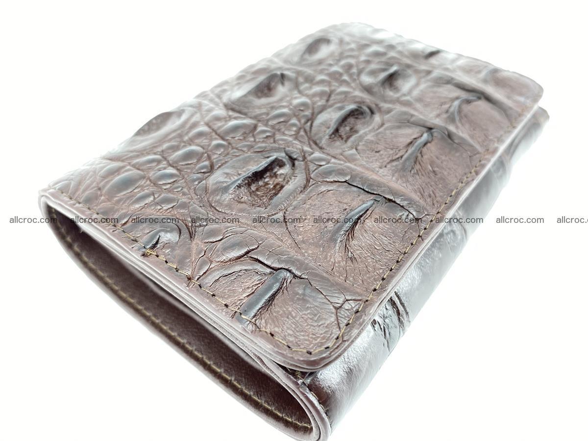 Siamese crocodile skin wallet for women, trifold medium size 433 Foto 4