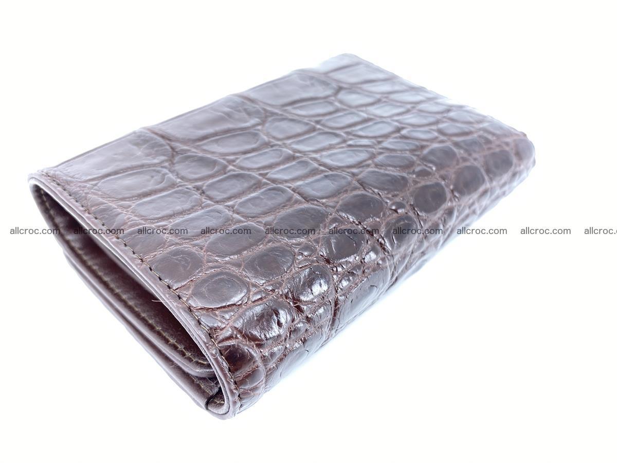 Siamese crocodile skin wallet for women, trifold medium size 433 Foto 6