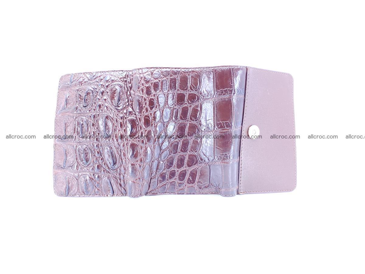 Siamese crocodile skin wallet for women, trifold medium size 433 Foto 9
