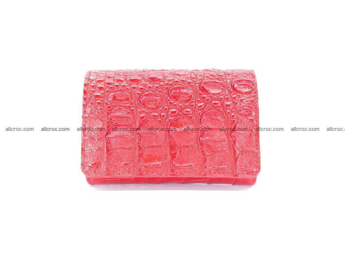 Siamese crocodile skin wallet for women, trifold medium size 435 Foto 0