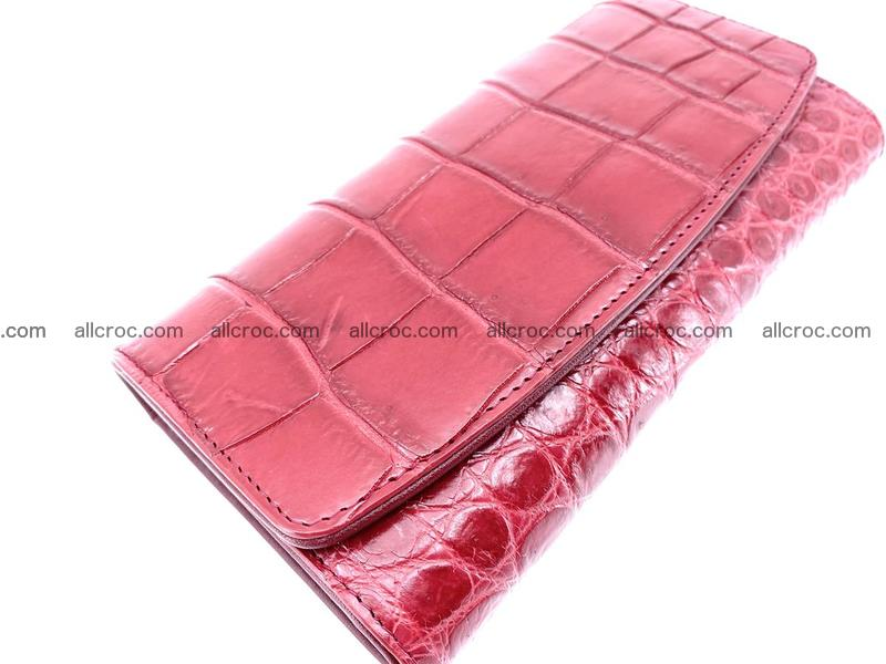 Crocodile leather long wallet trifold 622