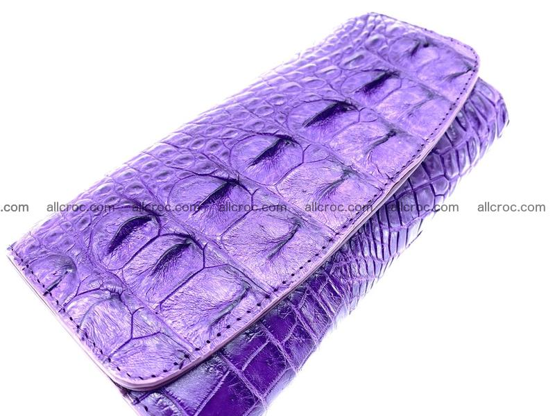 Crocodile leather long wallet trifold 619