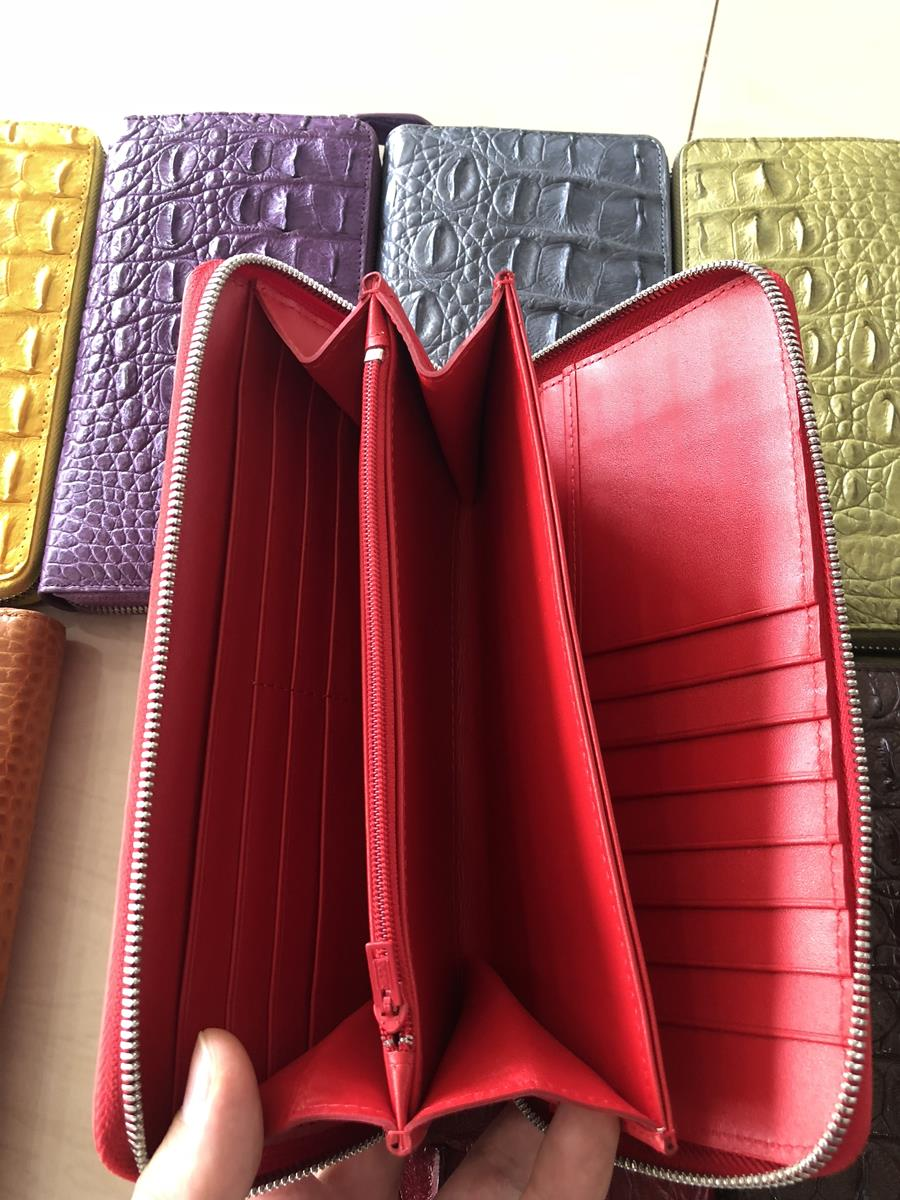 Siamese Crocodile skin wallet 1 zip for lady